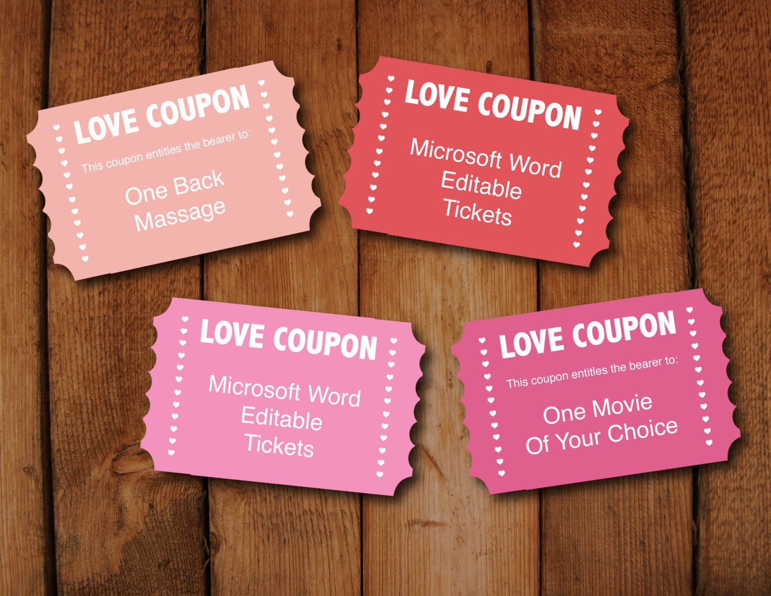valentine love coupons instant download editable digital file to