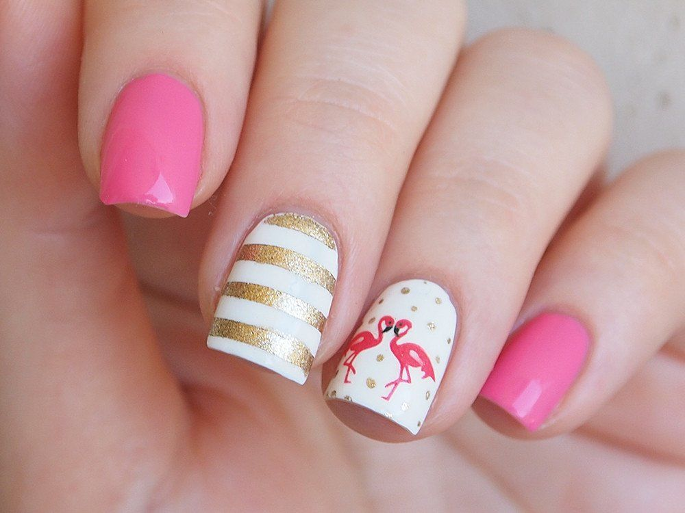 flamingo nail water decals