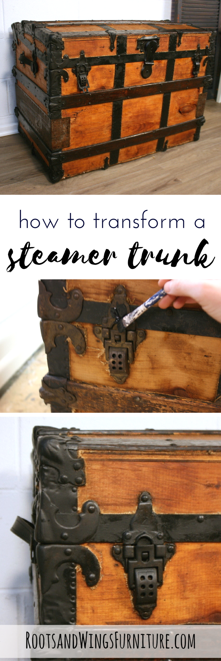 Completely refinish a steamer trunk inside and out with a few easy steps!  By Jenni - How To Restore An Old Trunk. Dream Home Pinterest Steamer