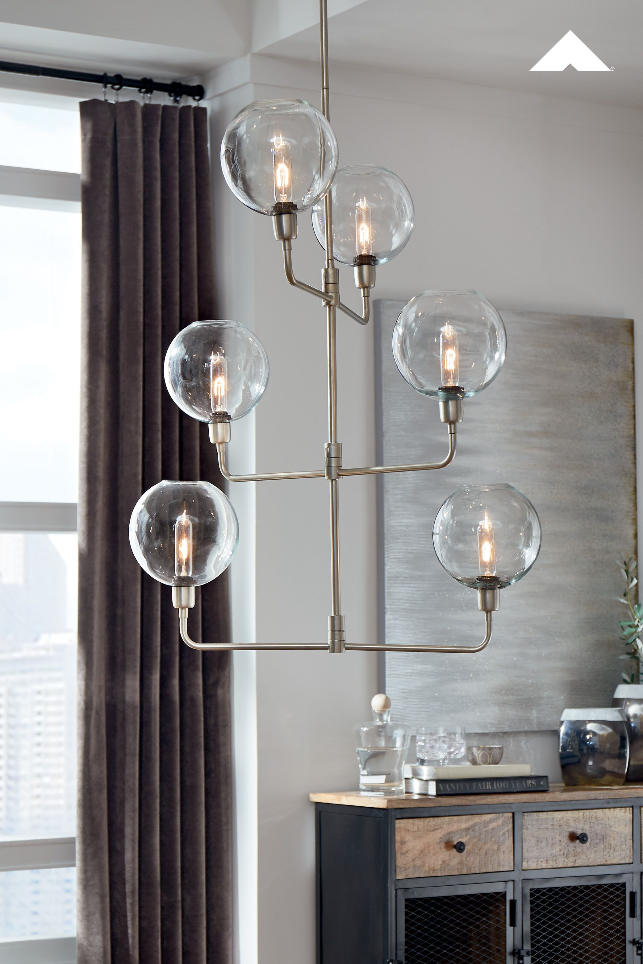 Merton Clear Silver Finish Metal Pendant Lamp By Ashley Furniture