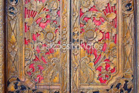 Indian inspired carved golden red wooden door – Stock Image …