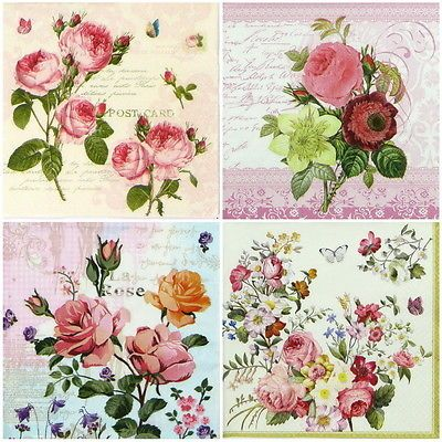 4x Paper Napkins for Decoupage Decopatch Craft Blossom Rose