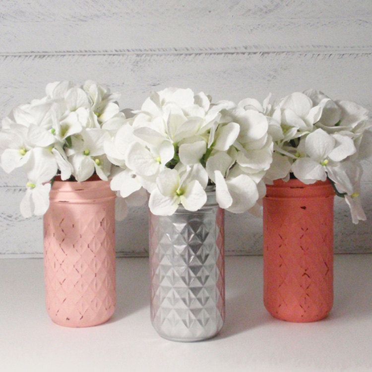 3 Hand Painted 12 Oz Quilted Jelly Jars Mason Jar Flower Vases