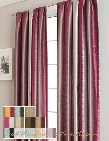 Muse Curtain Panel In Fuschia Silver Color Blurred Lines Stripe Pattern Modern Style Window Treatments