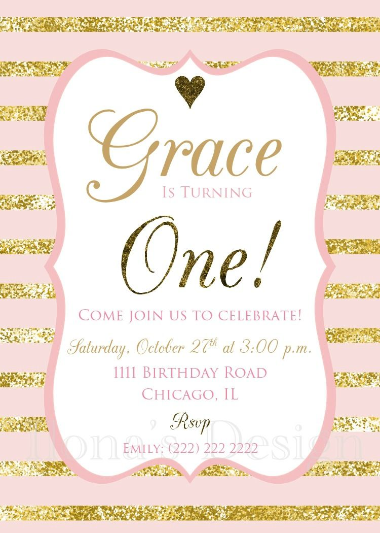 First Birthday Invitation Pink And Gold First Birthday Invitation 1st Birthday Gi 1st Birthday Invitations First Birthday Invitations Girl First Birthday