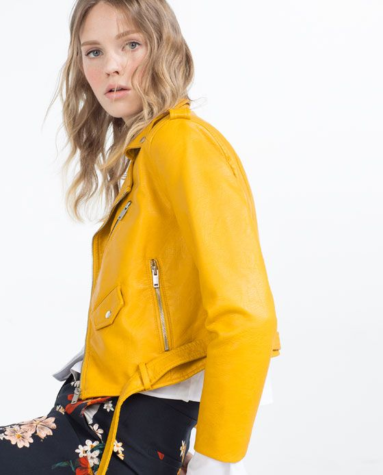 Jacket LeatherFaux ZaraWant LeatherYellow Red From Leather 67ygbf