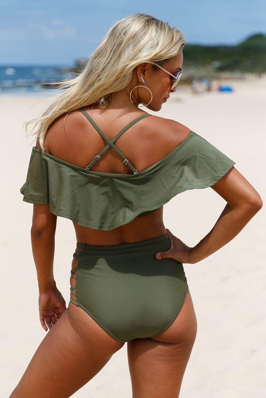 245a7d7c7bf Oliver Ruffle Off Shoulder Bikini High Waist Swimsuit in 2019 ...