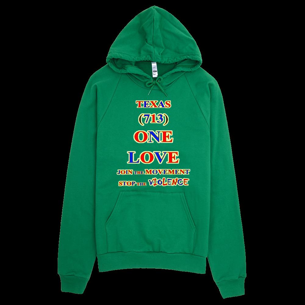 1632 H TEXAS Area Code 713 ONE LOVE HOODIE