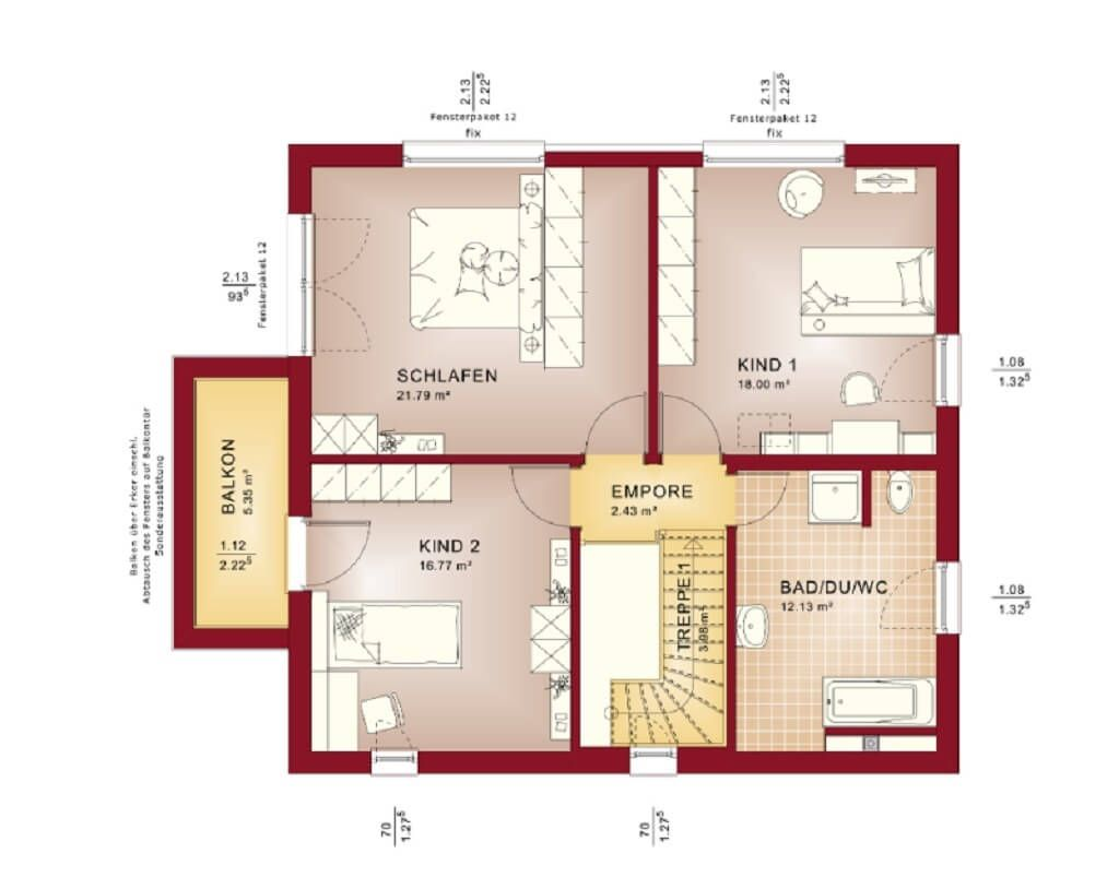 Grundriss Designhaus mit Flachdach // Haus Evolution 154