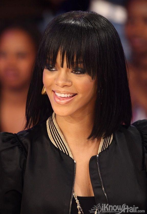 Rihanna Hair Styles Long Bob Fringe Jpg 575 836 Rihanna Hairstyles Straight Hairstyles Medium Hair Styles