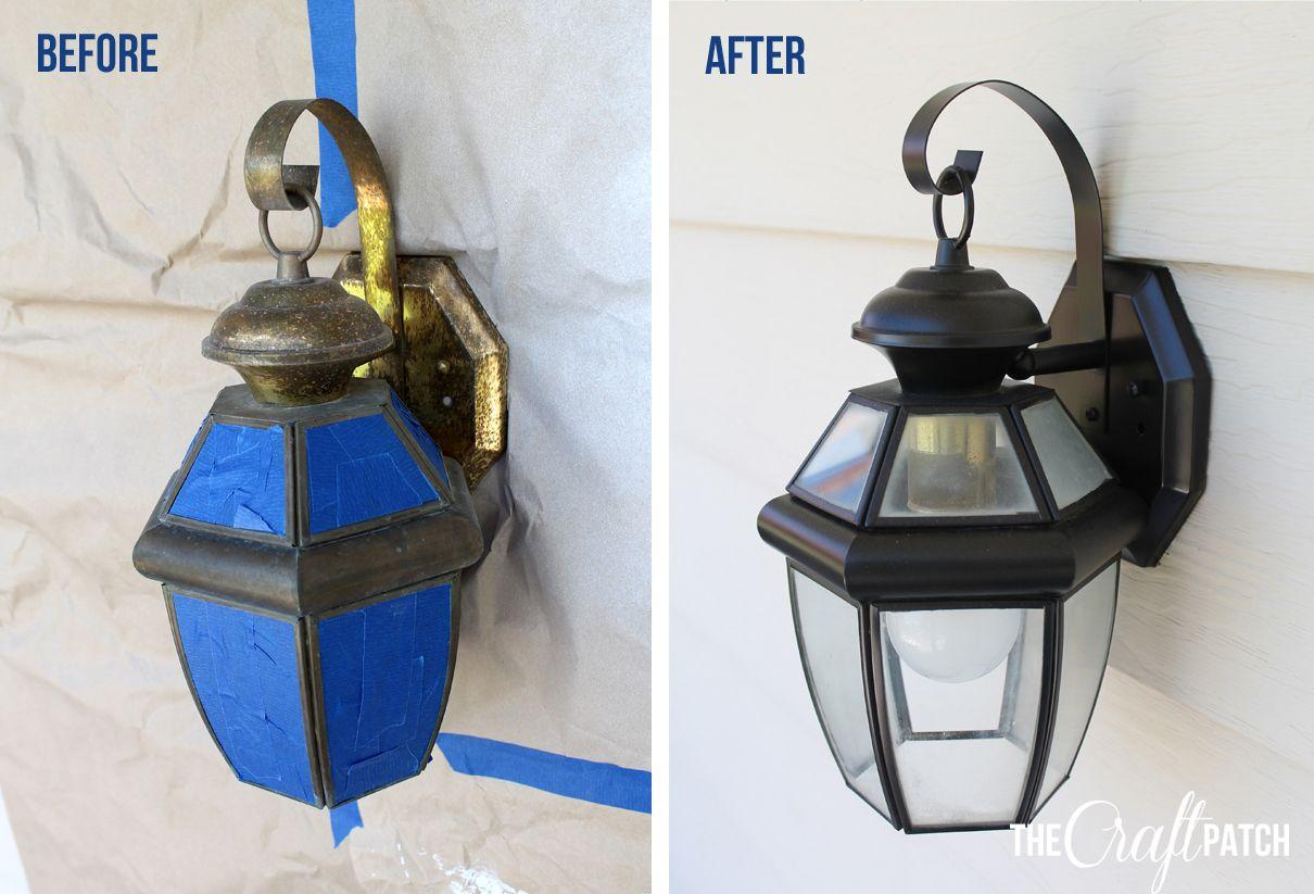 Easy Exterior Light Update The Craft Patch Outdoor Light Fixtures Exterior Light Fixtures Painting Light Fixtures