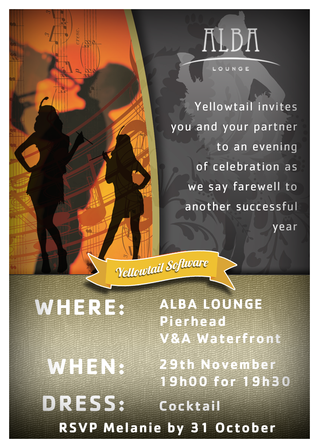 Yellowtail End year function invitation | Invitations