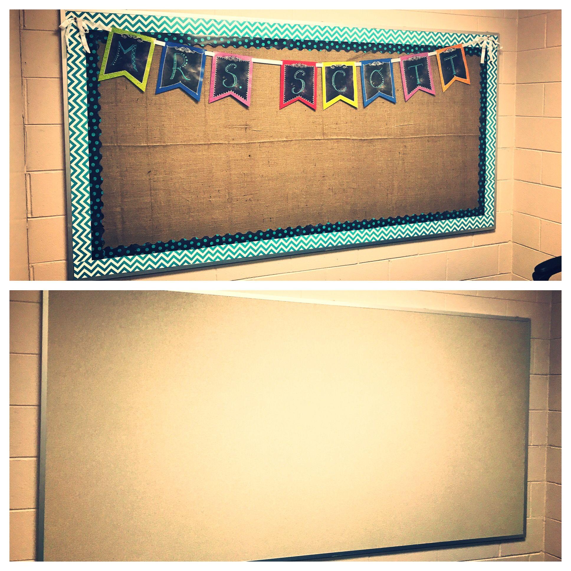 Bulletin Board Transformed Into A Burlap Beauty