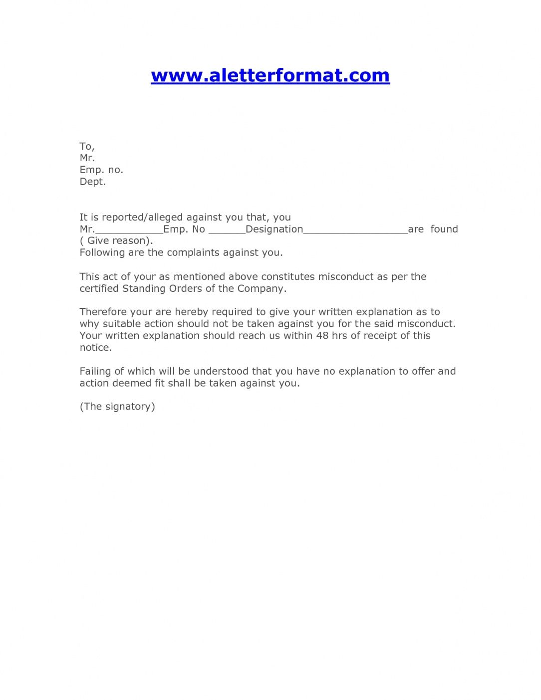 Warning Letter For Employee from i.pinimg.com