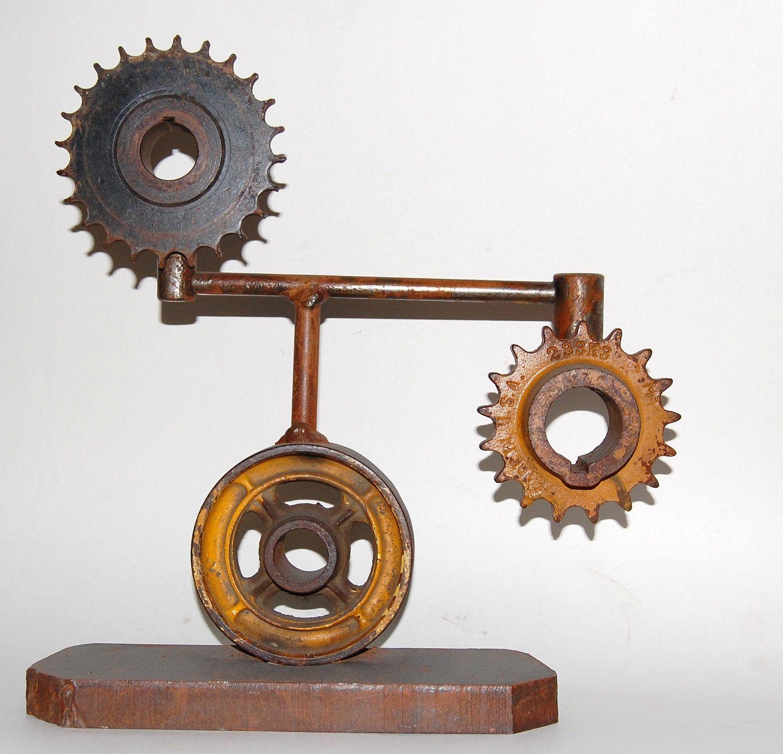 Steel gear sculpture - industrial art - gear bookend - gearhead ...
