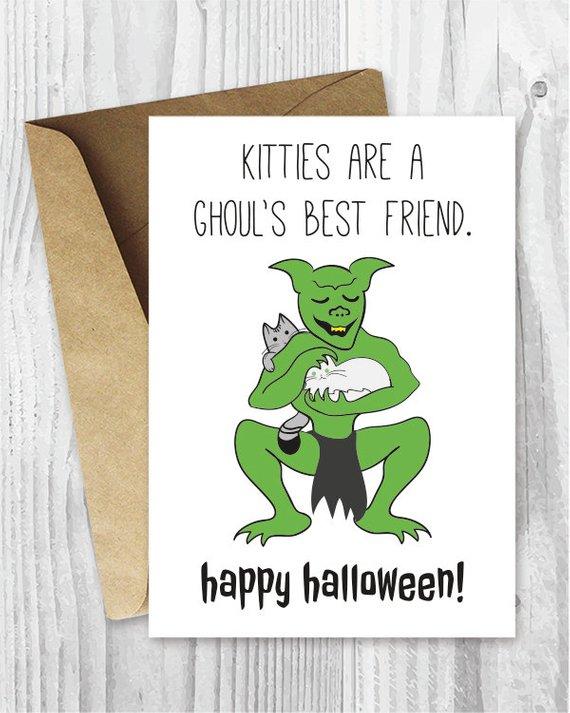 Halloween Card Printables, Kitties Are A Ghoul\u0027s Best Friend