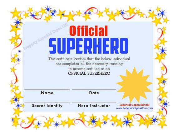 Superhero certificate instant printable download and print this superhero certificate instant printable download and print this certificate after purchase superhero party printable party favor yadclub Images