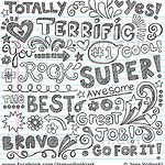 Terrific Words of Encouragement Praise Sketchy Notebook Doodles Vector Illustration by blue67design