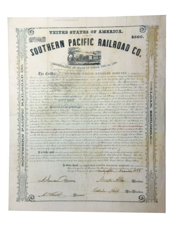 Southern Pacific Rail Road Co 1856 Issued And Uncancelled Bond