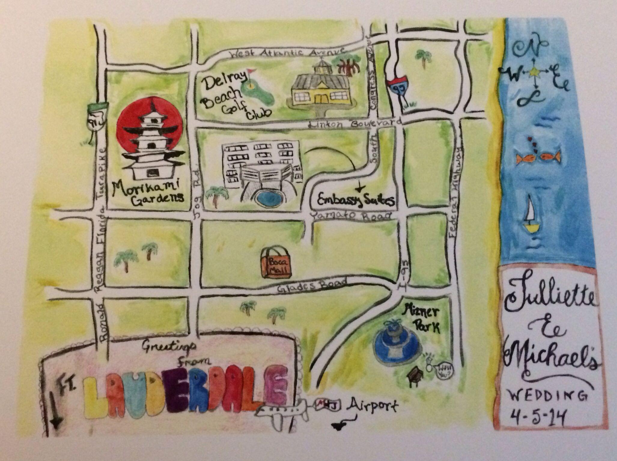 Map Of Florida Delray Beach.Diy Watercolor Wedding Map Delray Beach Florida Delray Beach Fl