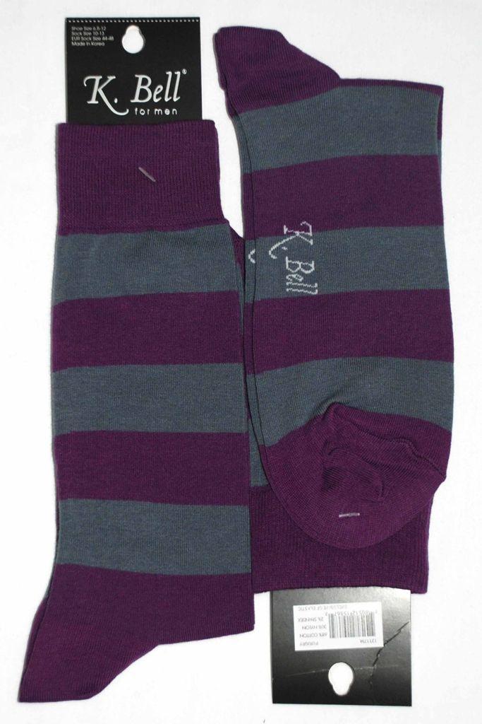 Purple Grey Stripe Mens Dress Sock - K. Bell Socks