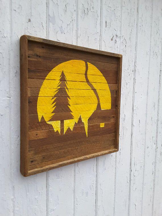 Reclaimed Wood Wall Art Landscape Silhouette Mountain | ประดิษฐ์ของ ...
