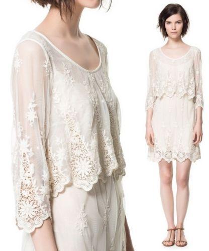 6f1f5285b604 ZARA WHITE Ecru LONG LACE DRESS Embroidered Vintage Medium M
