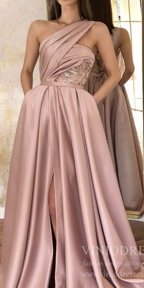 One Shouder Dusty Rose Prom Dresses with Pockets FD1540