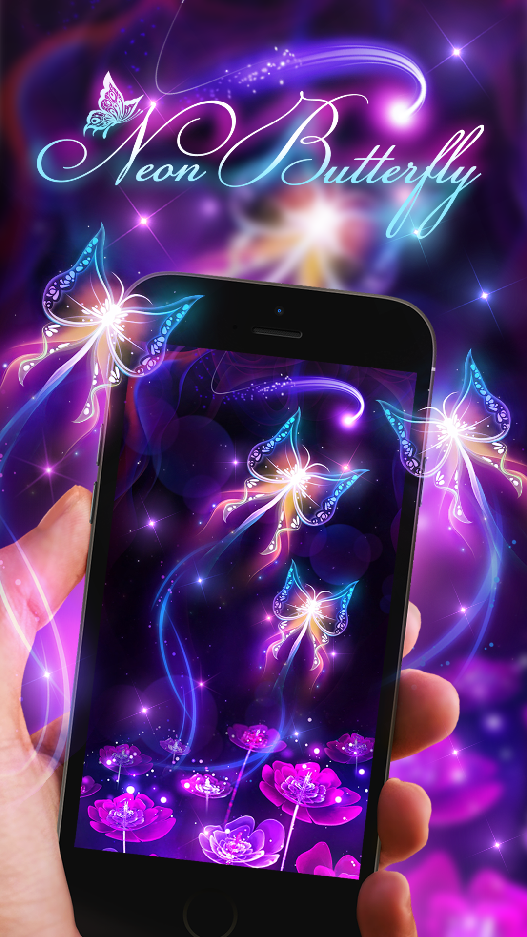 Neon butterfly live wallpaper! Live wallpapers