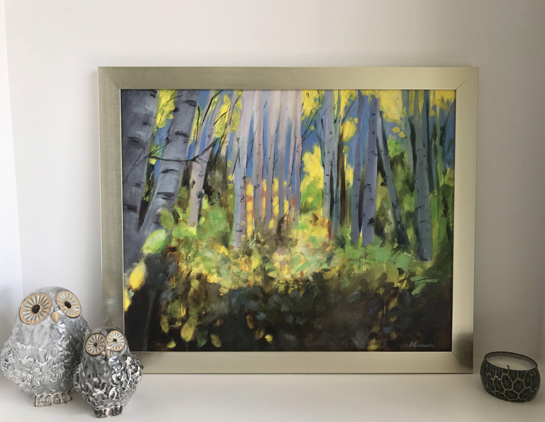 Morning Glow Original 16X20 Oil Painting, Aspen Tree Art, Birch
