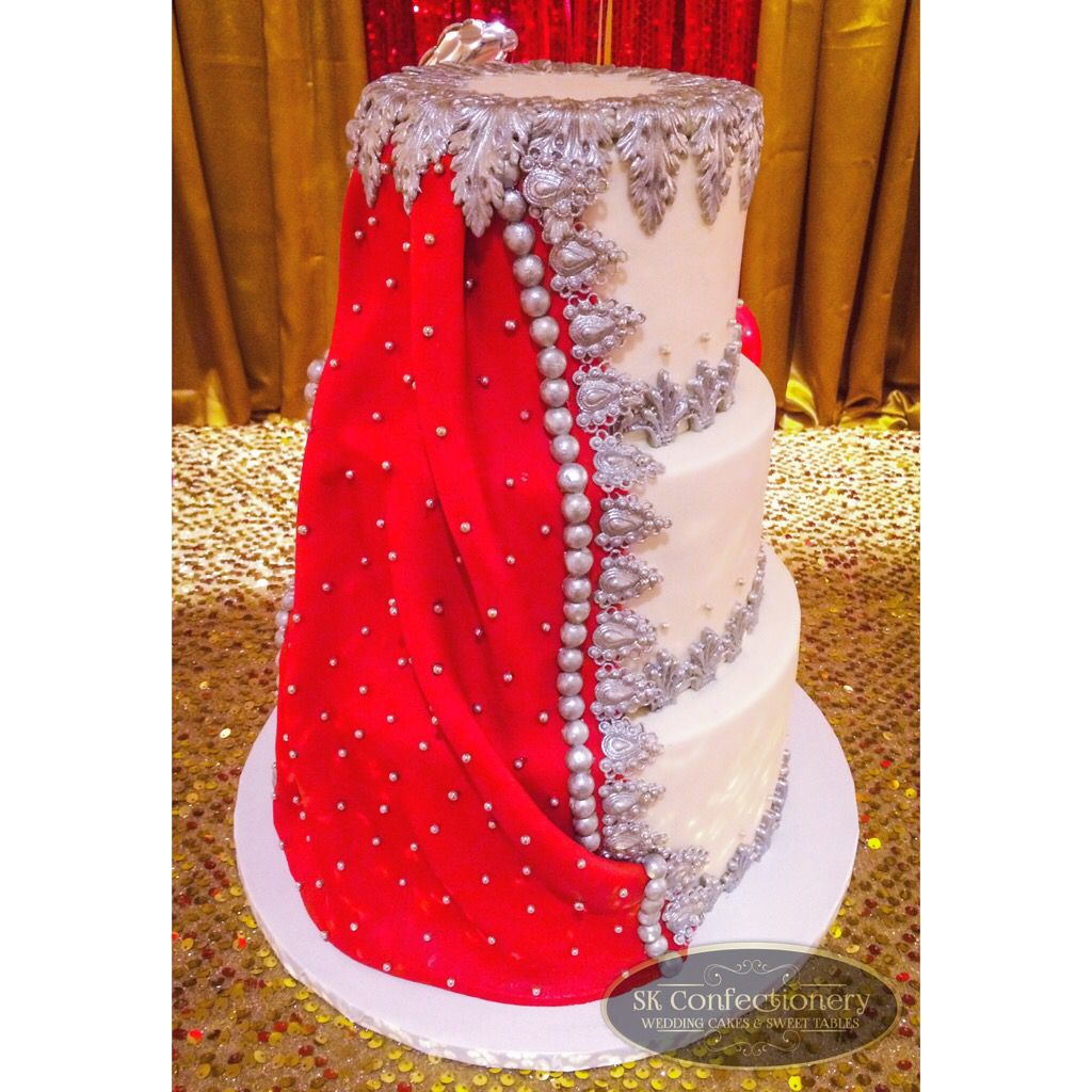 Bridal Dupatta inspired wedding cake ~ luxury Indian wedding cake red & silver || Cake by SK Confectionery  Visit us: skconfectionery.ca
