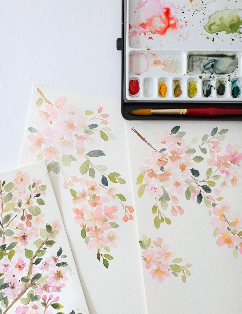 Cherry Blossoms Watercolor Painting Video Diy Watercolor