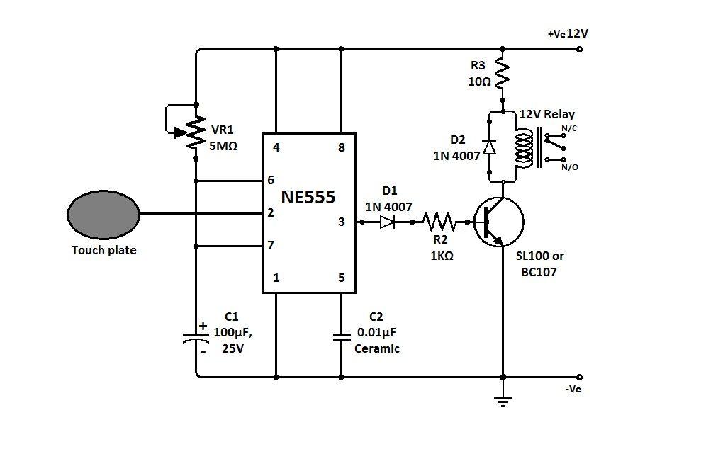 555 touch sensor electronics circuits