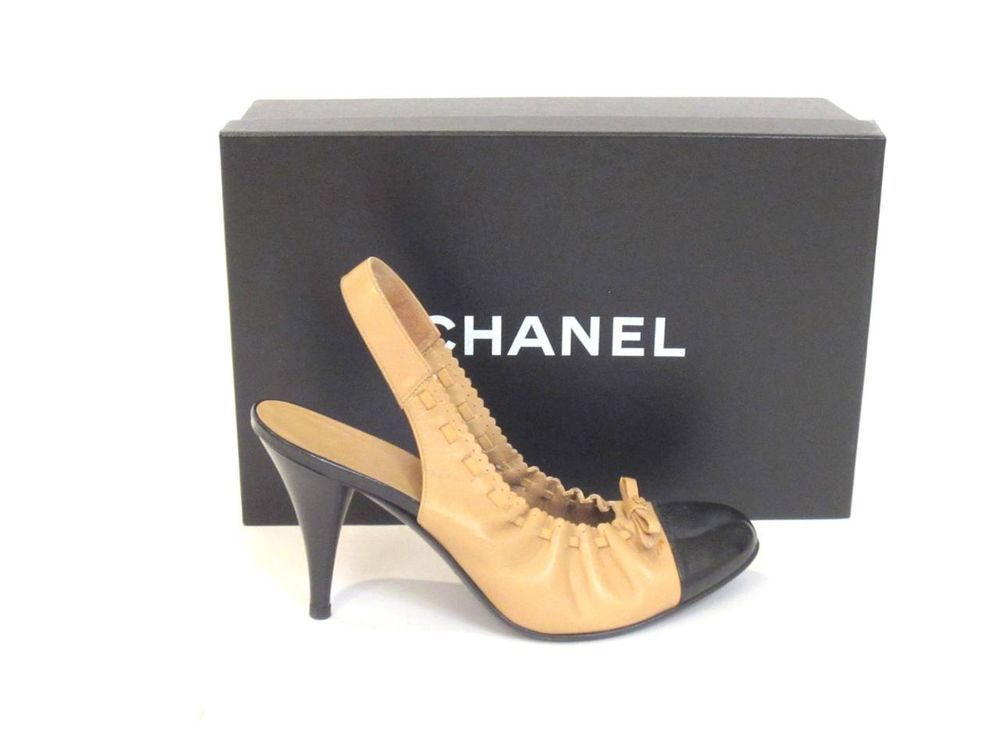 4eb754196dc8 CHANEL BEIGE   BLACK PATENT BOW DETAIL CAP TOE ELASTIC SLINGBACK PUMPS SZ. 36.5  CHANEL  PumpsClassics