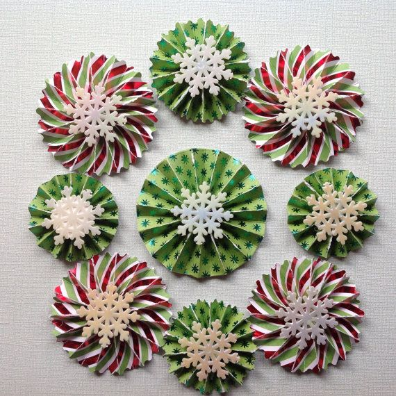 Set of 9 Handmade, card stock rosette/medallion gift toppers.  Made from Christmas patterned card stock – with foil.  2 and 3 inches in diameter –