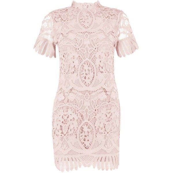 e0a29be2e116 Boohoo Boutique Alice Lace High Neck Bodycon Dress ($41) ❤ liked on  Polyvore featuring dresses, midi cocktail dress, pink party dresses, lace  cocktail ...