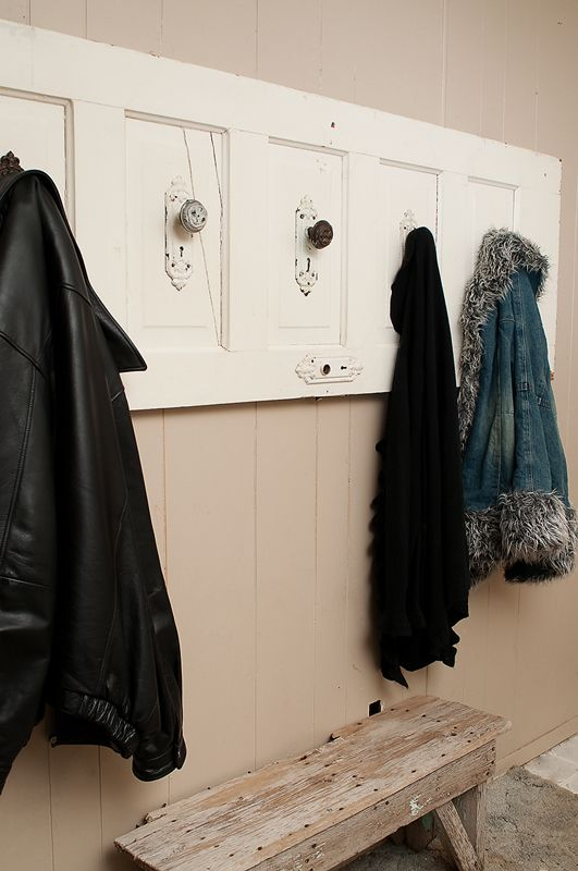 Old Door Coat Rack Love The Door Handles Upcycled Recycled - Coat rack design ideas art deco coat rack baby coat rack branches