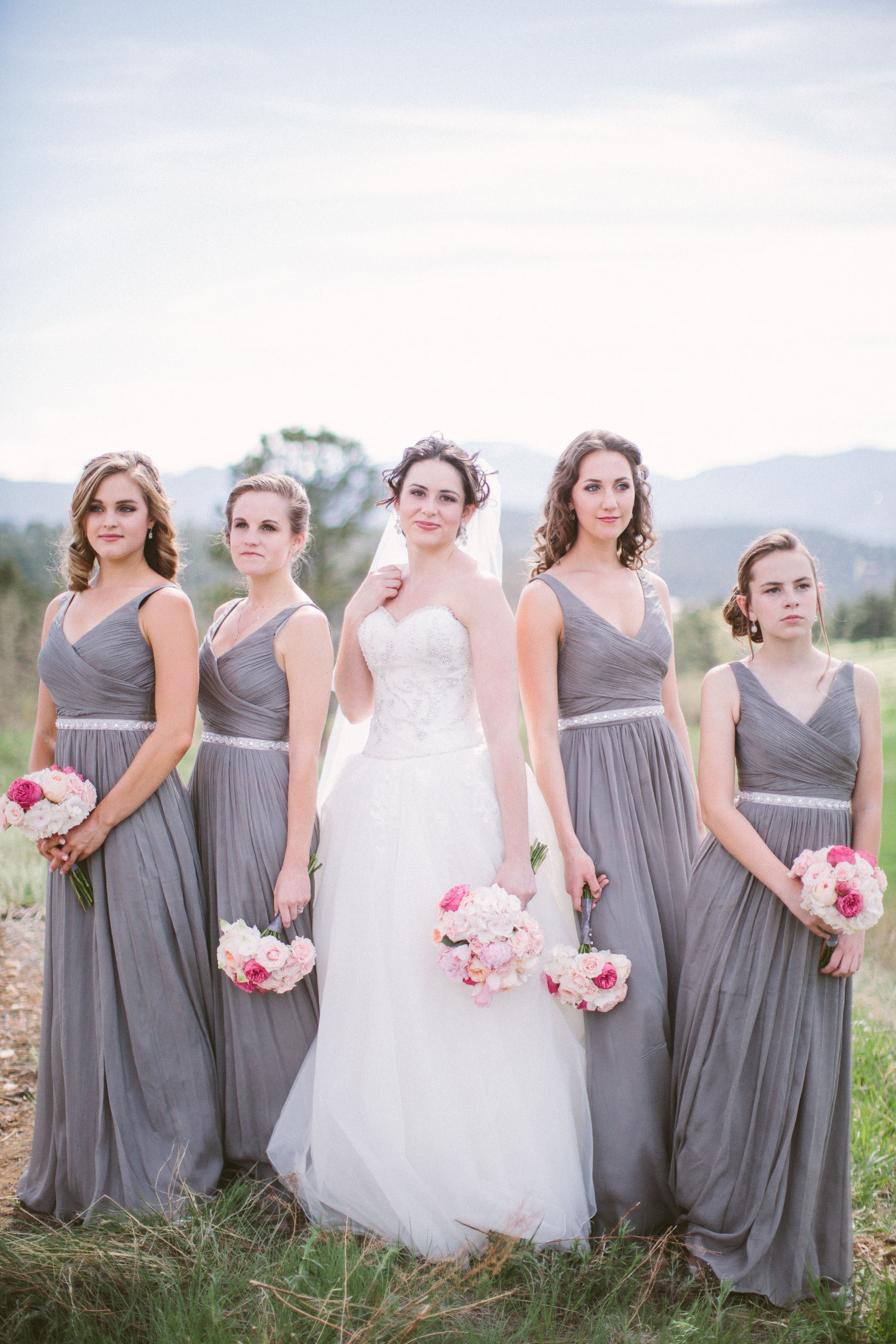 Grey max bridesmaids dresses from jcrew styled with pink bouquets grey max bridesmaids dresses from jcrew styled with pink bouquets very chic and classic ombrellifo Image collections