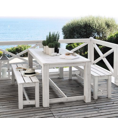 Tavolo Legno Bianco Esterno.Tavolo Bianco 2 Panche Da Giardino In Legno L 180 Cm Giardini