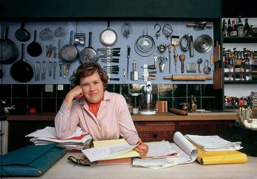 My husband would probably fall in love with Julia Child's kitchen. Everything is out in the open and organized.