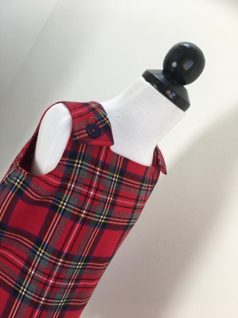 Vestito Scozzese In Lana Abbigliamento Bambini Etsy Girl Outfits Baby Girl Clothes Tartan Dress