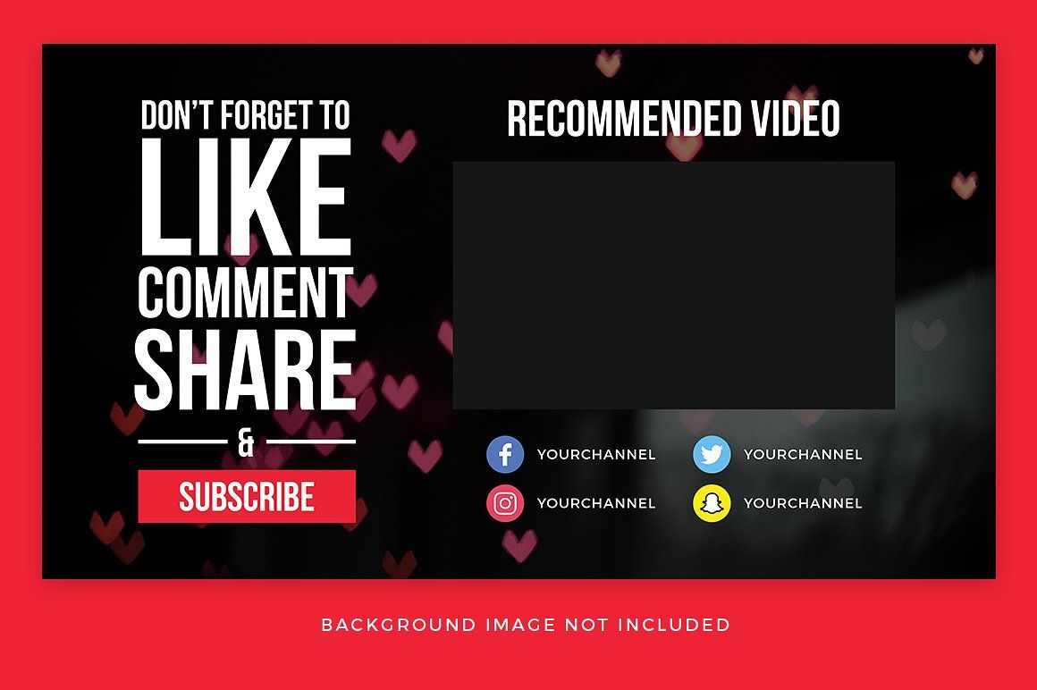 Youtube End Card Templates Card Templates Card Template Youtube Banner Template