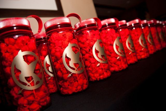 hunger games party favors | Hunger Games waterbottles! Another party favor idea. Filled with ...