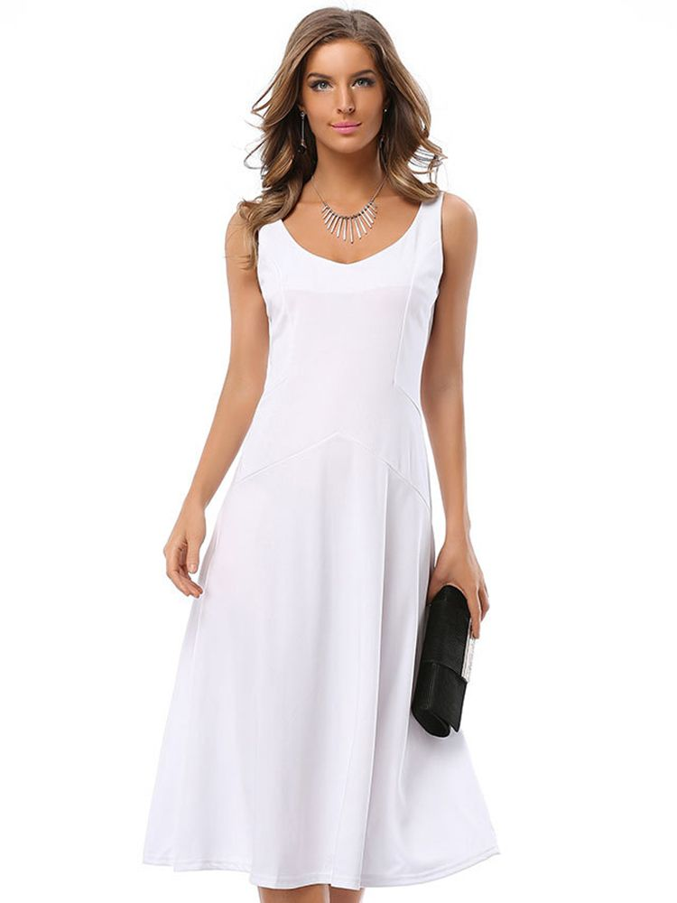 Women Casual V-Neck Patchwork Pure Color Sleeveless Dress