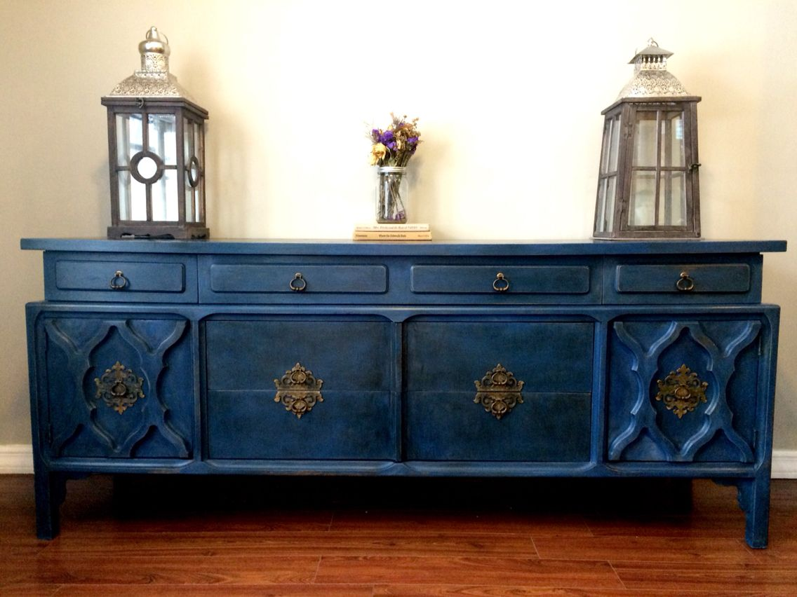 Annie Sloan Napoleonic Blue With Clear And Dark Wax Buffet  # Buffet Bas Long Bureau