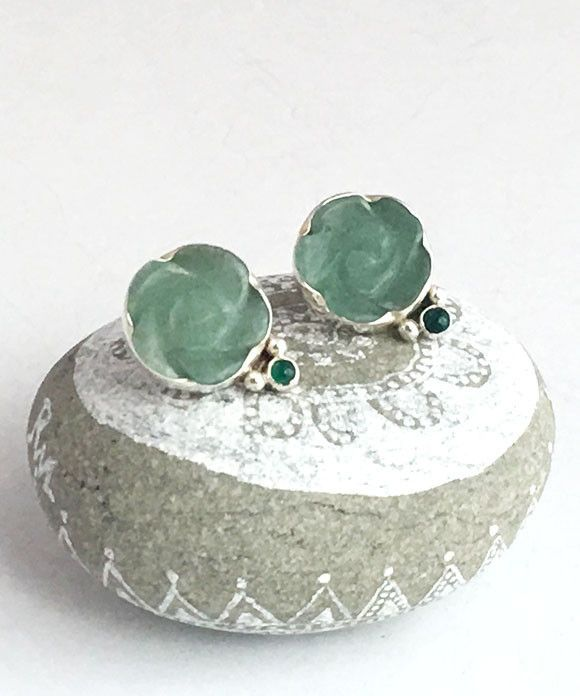 Carved Green Adventurine Stone Flower Post Earrings with Green Agate