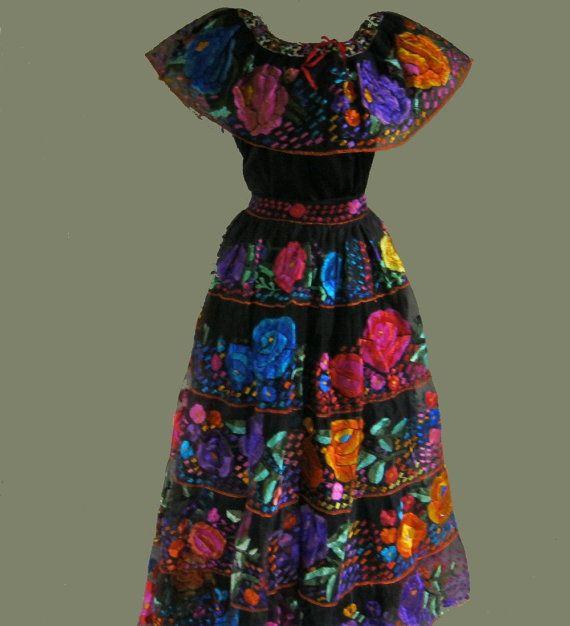 Women Fashion Mexican cotton linen Maxi dresses vintage Gypsy print plus  size casual loose long dress