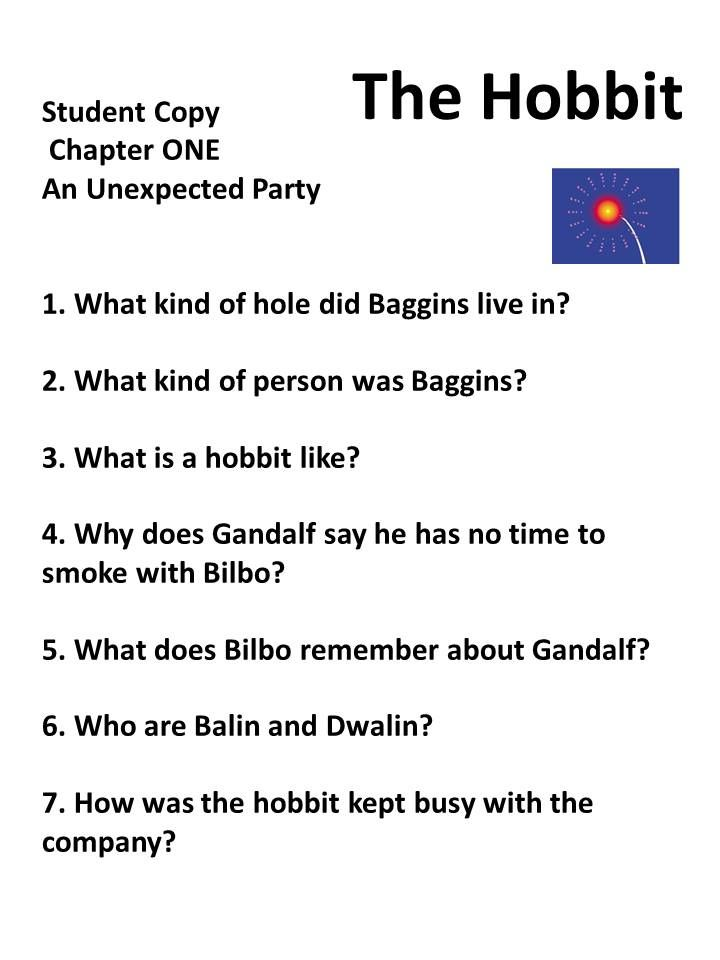 The Hobbit I Focu Of Thi Book Unit Chapter By Reading Comprehension Qu Question Homeschool Essay On