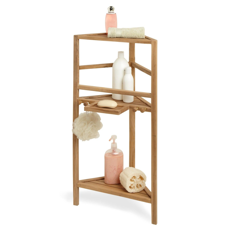 36 Three Tier Teak Corner Bath Shelf
