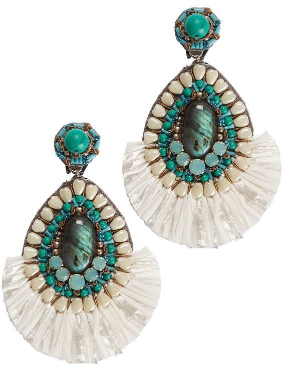 Beaded Drop Earring in Turquoise Ranjana Khan B8nPEd